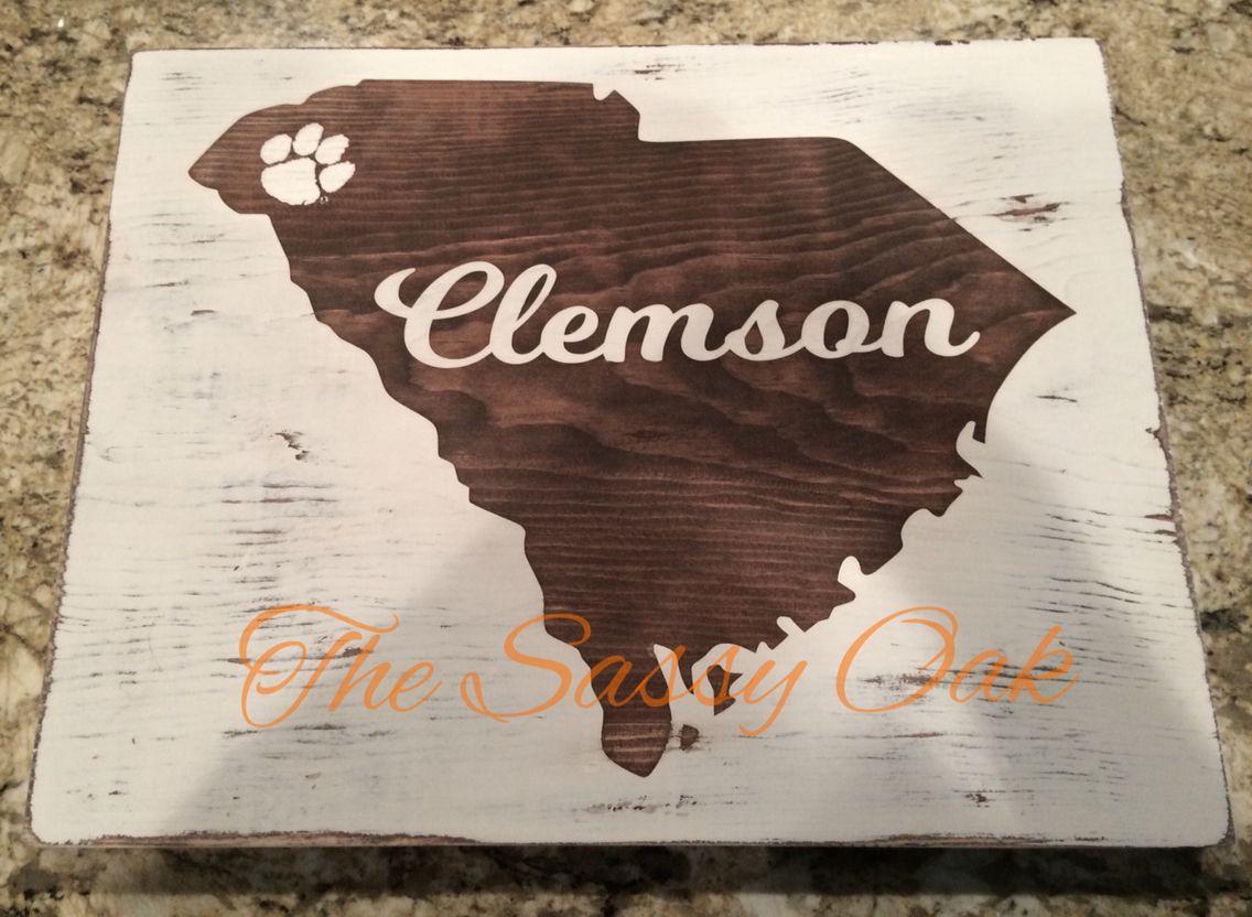 12x12 SC sign with Clemson paw. Crafty craft, Clemson