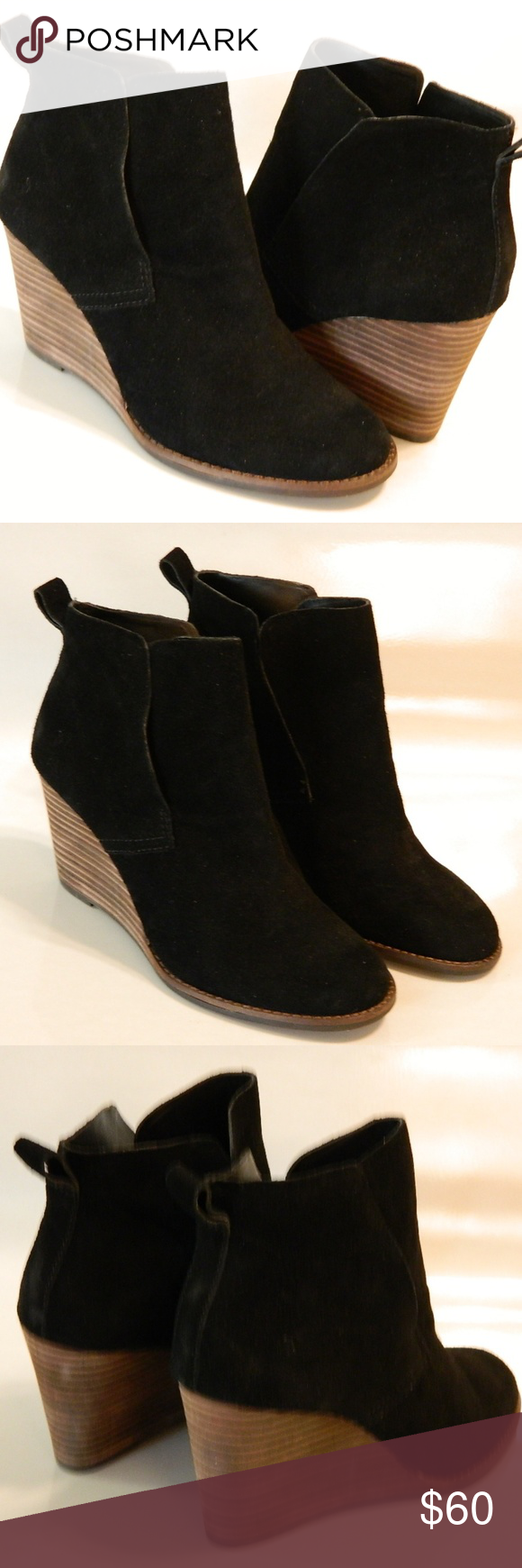 bd8b711a3cab LUCKY BRAND Yoniana Wedge Booties Black Sz 7M NEW LUCKY BRAND Yoniana Wedge  Booties Ankle Boots