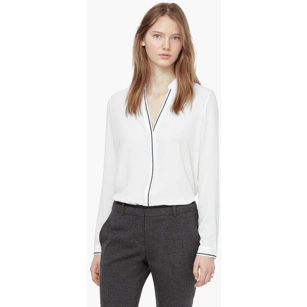 Contrast Trim Shirt (€48) via Polyvore featuring tops 5d07ad21f