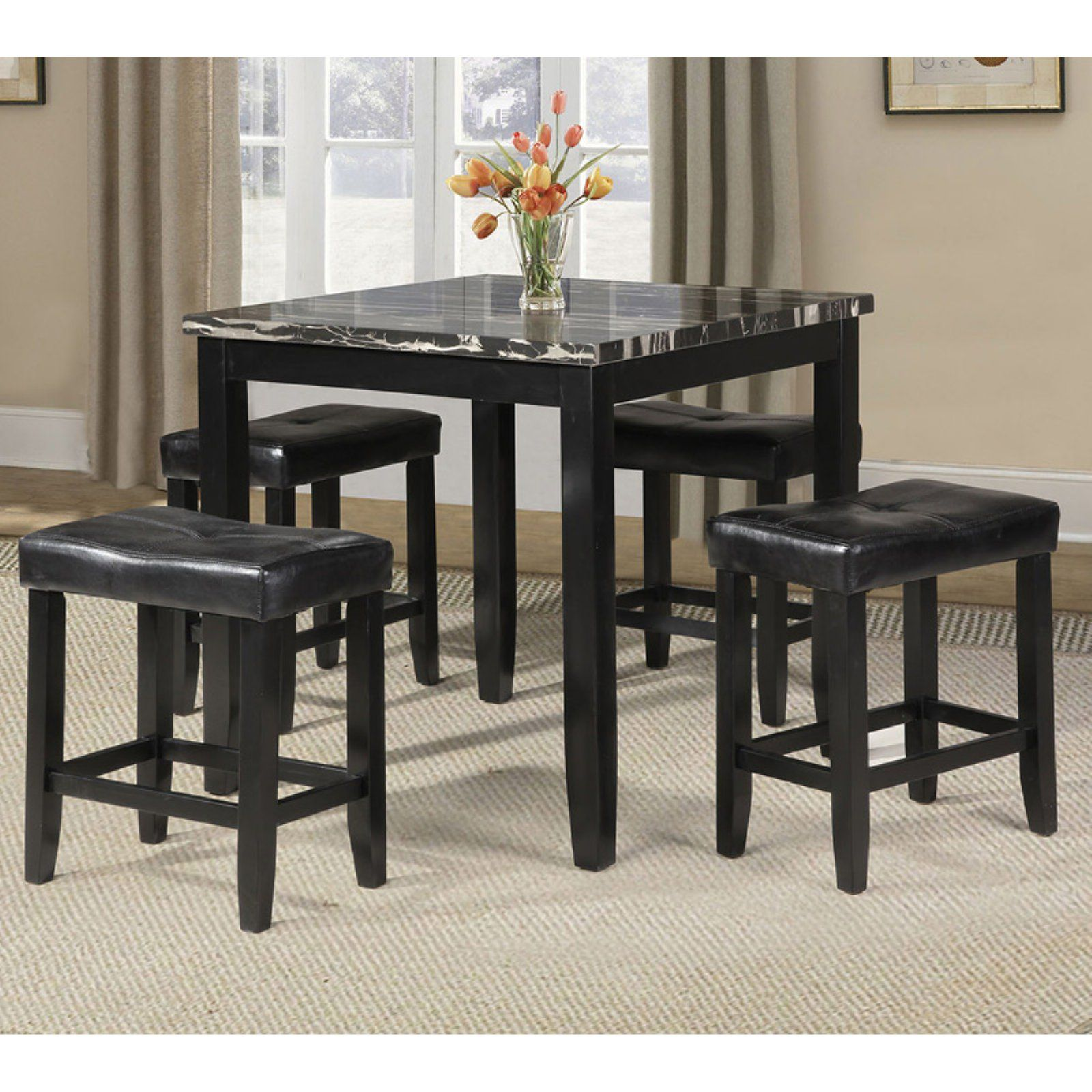 Acme Furniture Blythe 5 Piece Counter Height Faux Marble Dining