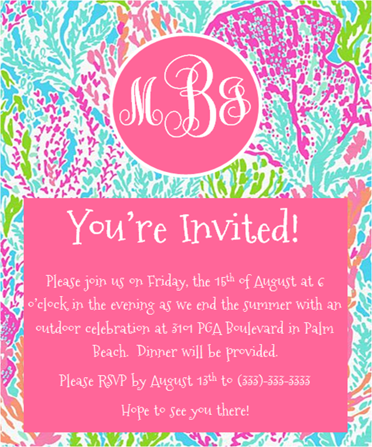 Free Lilly Pulitzer Party Printables Invitation Thank You Label