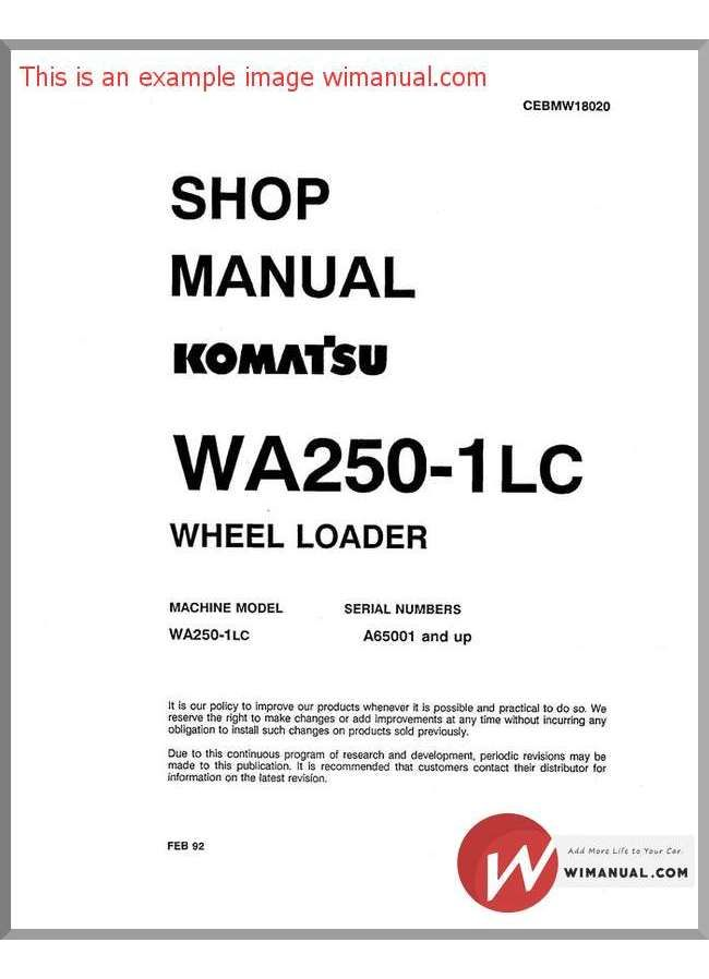 Komatsu Wheel Loader Wa250 1Lc Shop Manual pdf download