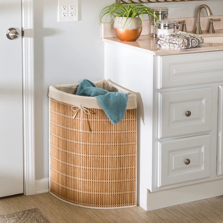 Wicker Corner Hamper With Laundry Bag Bamboo Wicker Laundry
