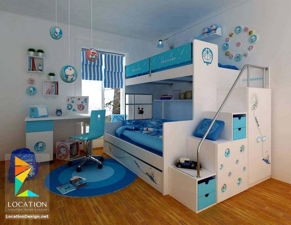 نقدم لكم كتالوج صور غرف نوم اطفال باللون الازرق لأرقى ديكورات دهانات حوائط وجدران زرقاء في تشكيلة جديدة من غ Cool Bunk Beds Boy Bedroom Design Bunk Bed Designs