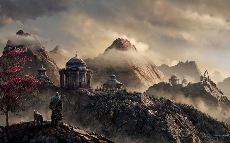 Fantasy Art Warrior Archer Archers Building Mountain Clouds Dog FarCry HD Wallpaper Desktop Background