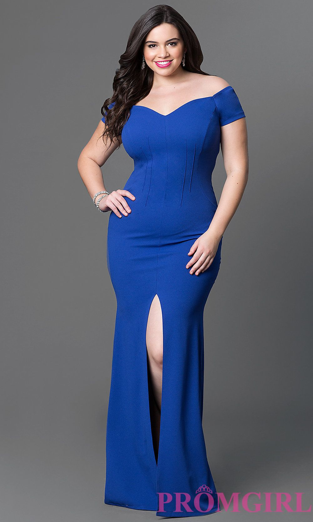 Image of long off-the-shoulder plus-size jersey dress. Detail ...