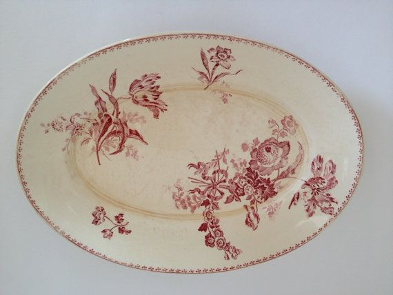 French vintage ceramic dish pink and white from by Lespotsdeflavia, $25.00