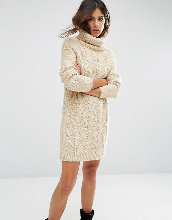 cdfca33c0fcd ASOS Sweater Dress in Cable Stitch with Roll Neck   Outfit Me   Roll ...