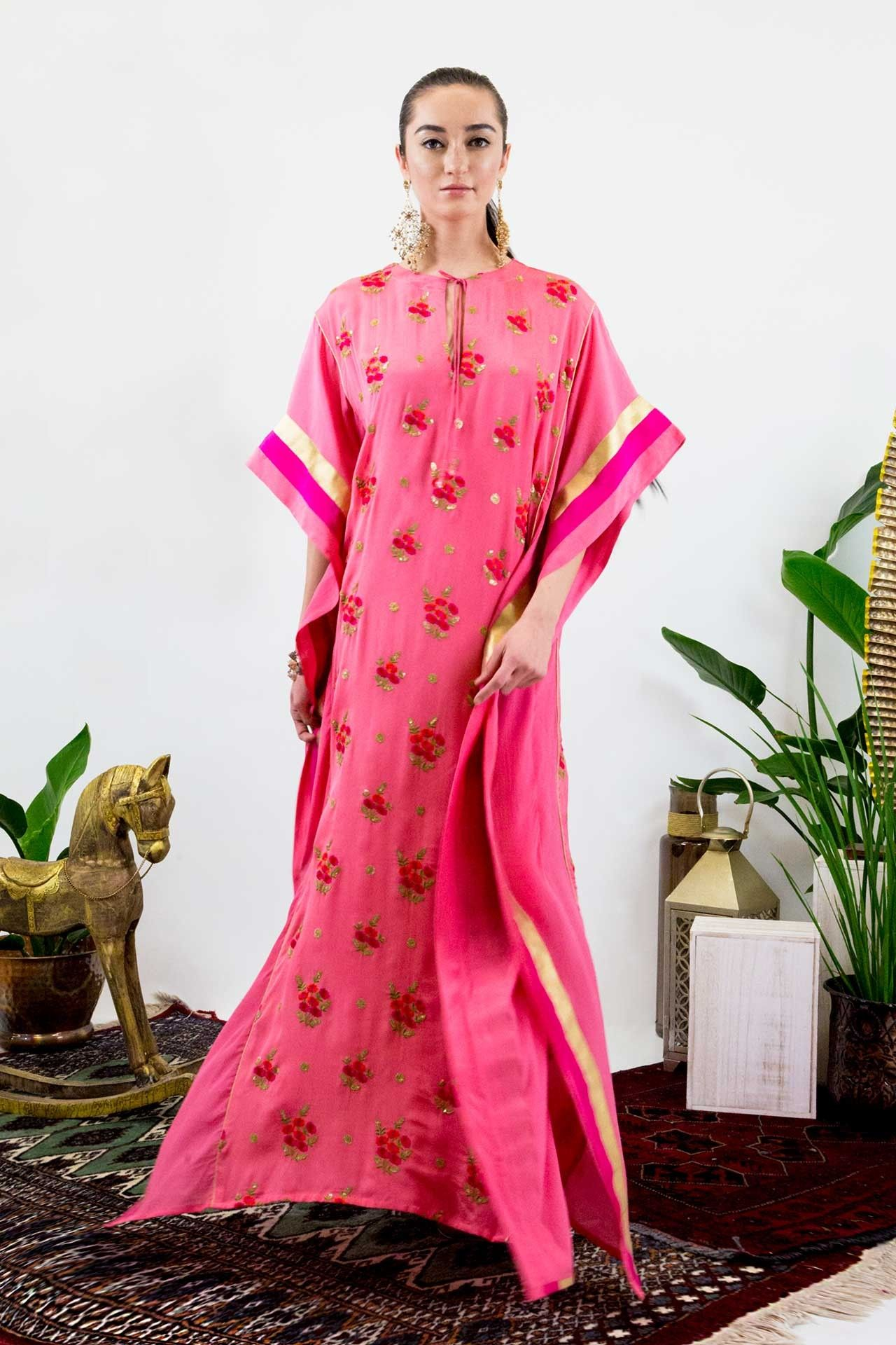 Floral embroidered pink long kaftan caftans pinterest kaftans