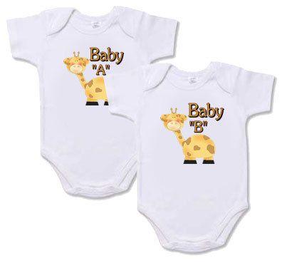 "Twin Baby Onesies - Set of 2 ""Baby A Baby B Giraffe ..."