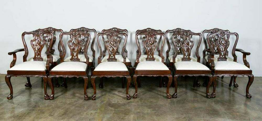 Mahogany Dining Chairs Chippendale Ball