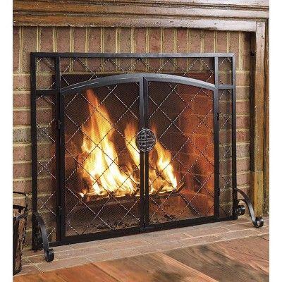 2 Door Celtic Knot Flat Fireplace Fire Screen Pewter Plow