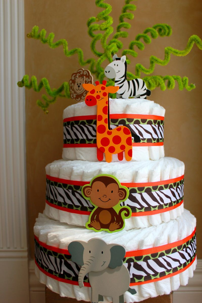 Jungle Diaper Cake With Images Safari Baby Shower Boy Baby