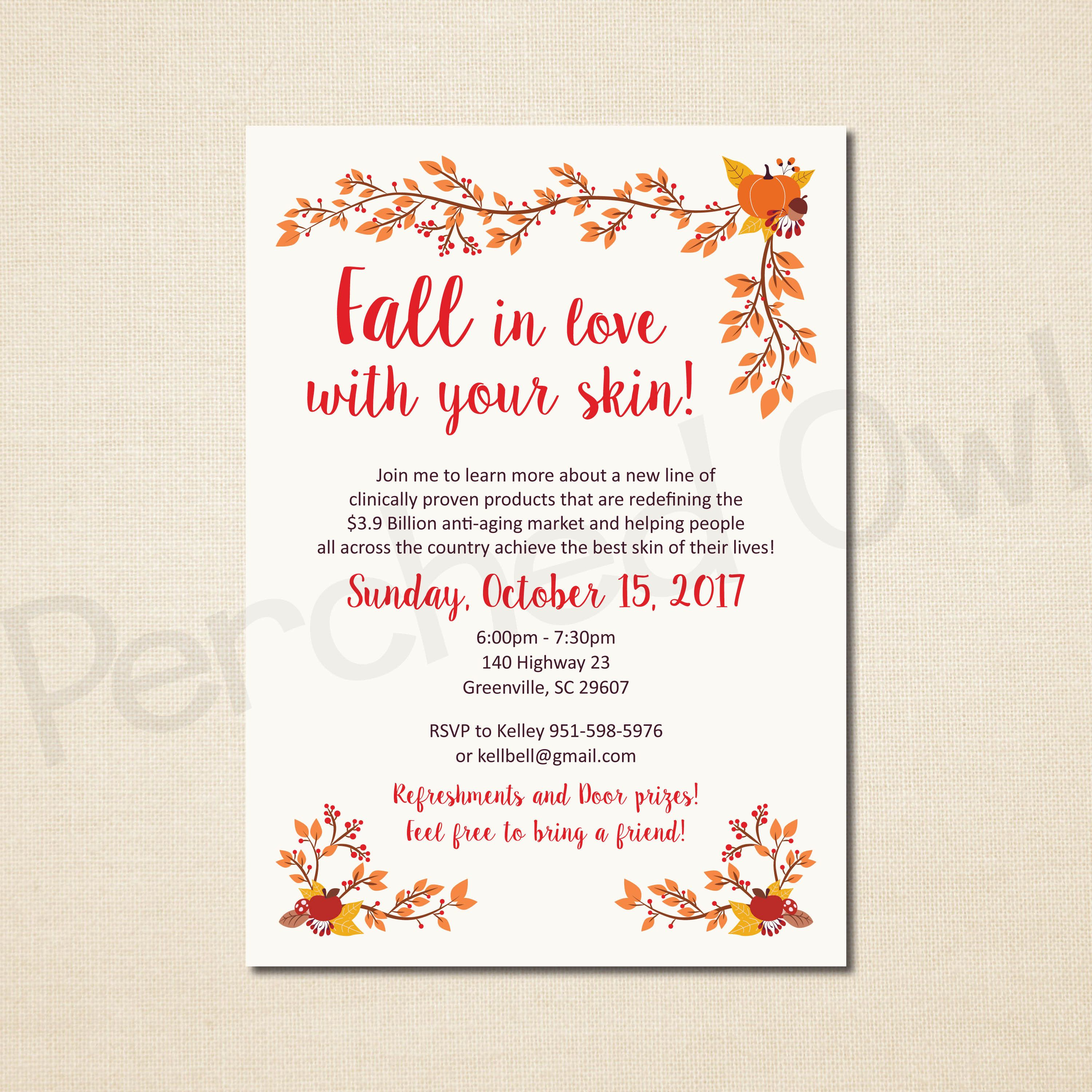 FALL In Love With Your Skin Invitation - Direct Selling - Business ...