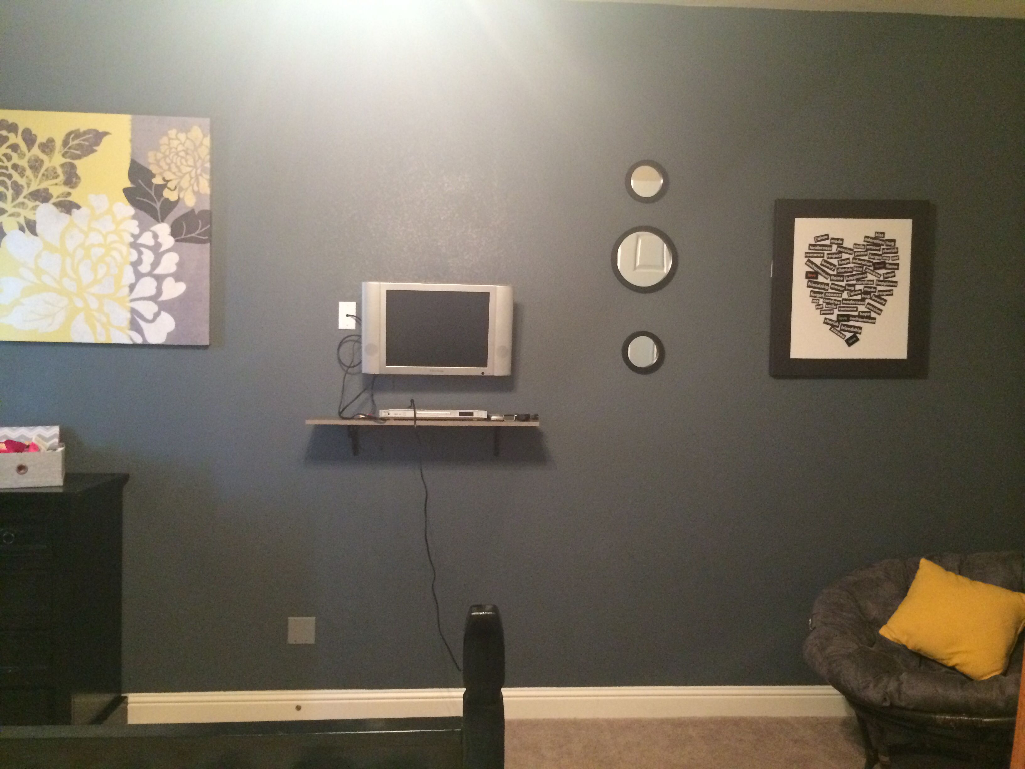 Sherwin Williams Gibraltar gray accent wall in black/white/yellow ...