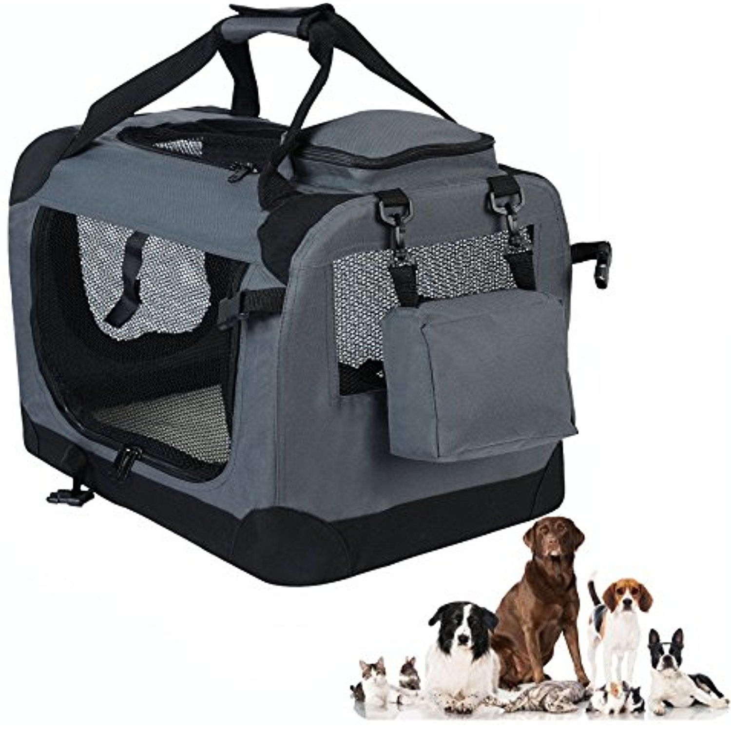 Woltu Soft Pet Carrier Folding Cat Dog Crate Indoor Outdoor Pet Home Grey To View Further For This Item Soft Dog Crates Soft Pet Carrier Folding Dog Crate