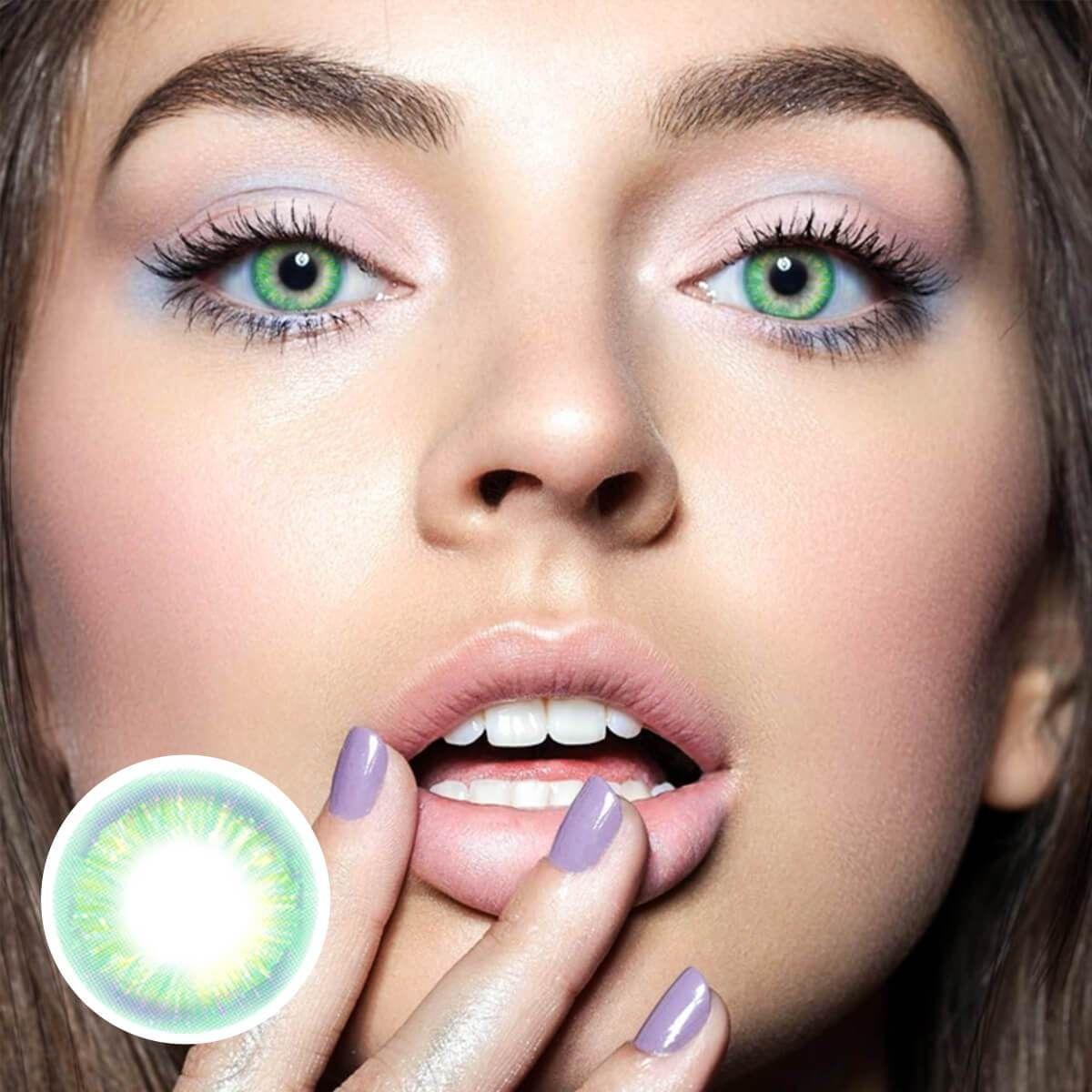 Rainbow Neon Green Contact Lenses Unicoeye Green