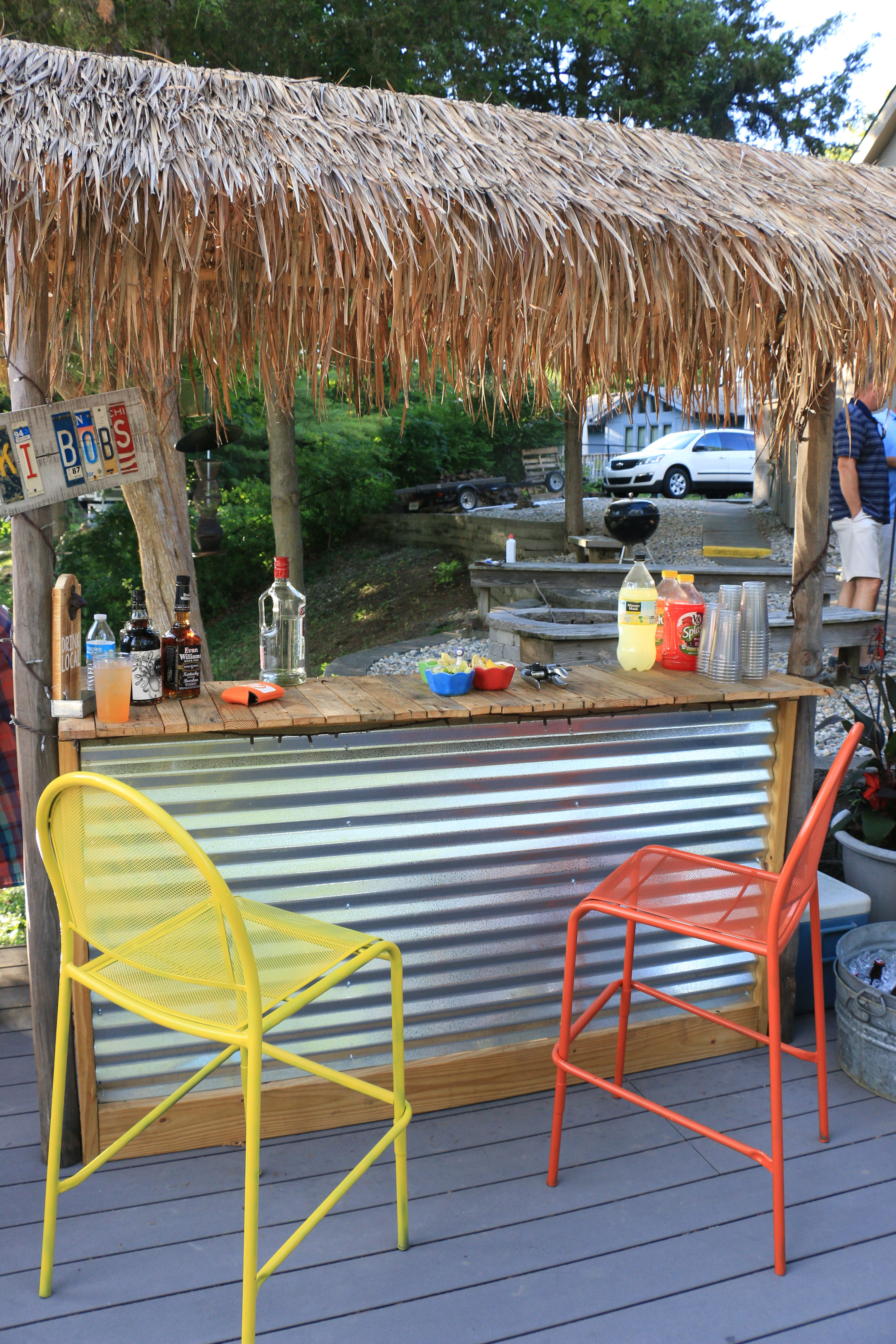 Tiki Bar Built From Pallet Wood And A Few 2X4S