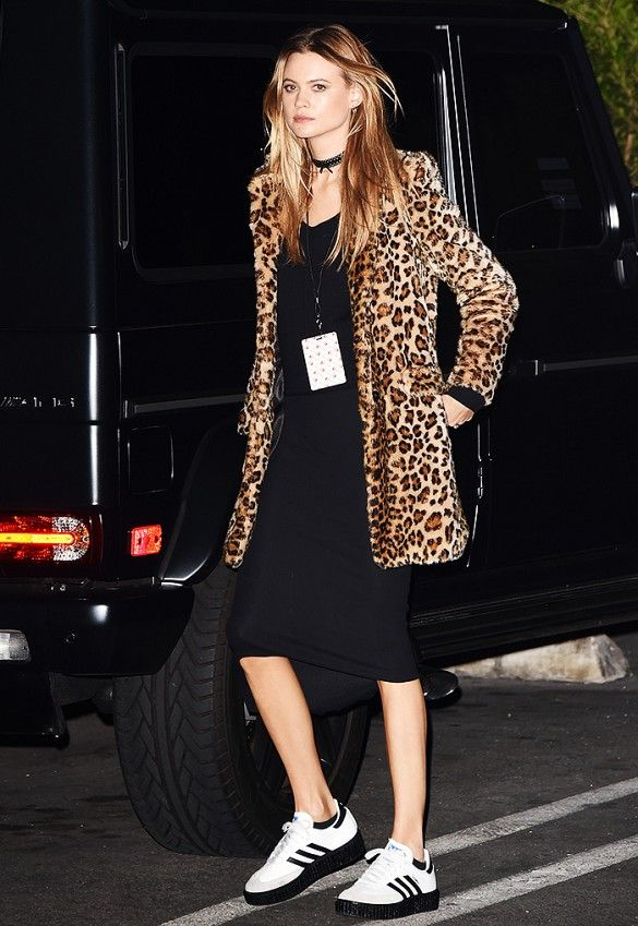 068ce52cc78166 Behati Prinsloo went a little rocker pairing her LBD with a leopard coat