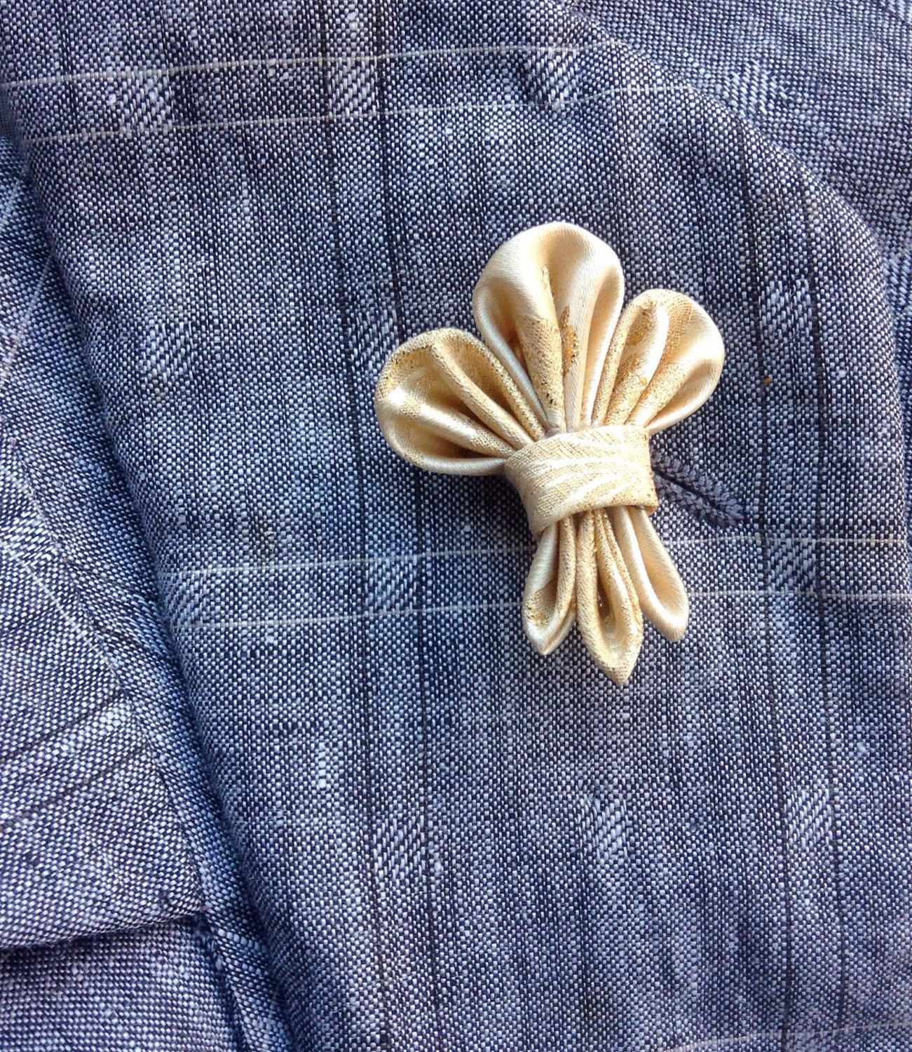 Mens Lapel Pin Flower Fleur De Lis Custom Lapel Pins Men Silk Boutonniere  Gold Lapel Gifts For Him Stocking Stuffer Kanzashi Pin Under 30 By  Exquisitelapel ...