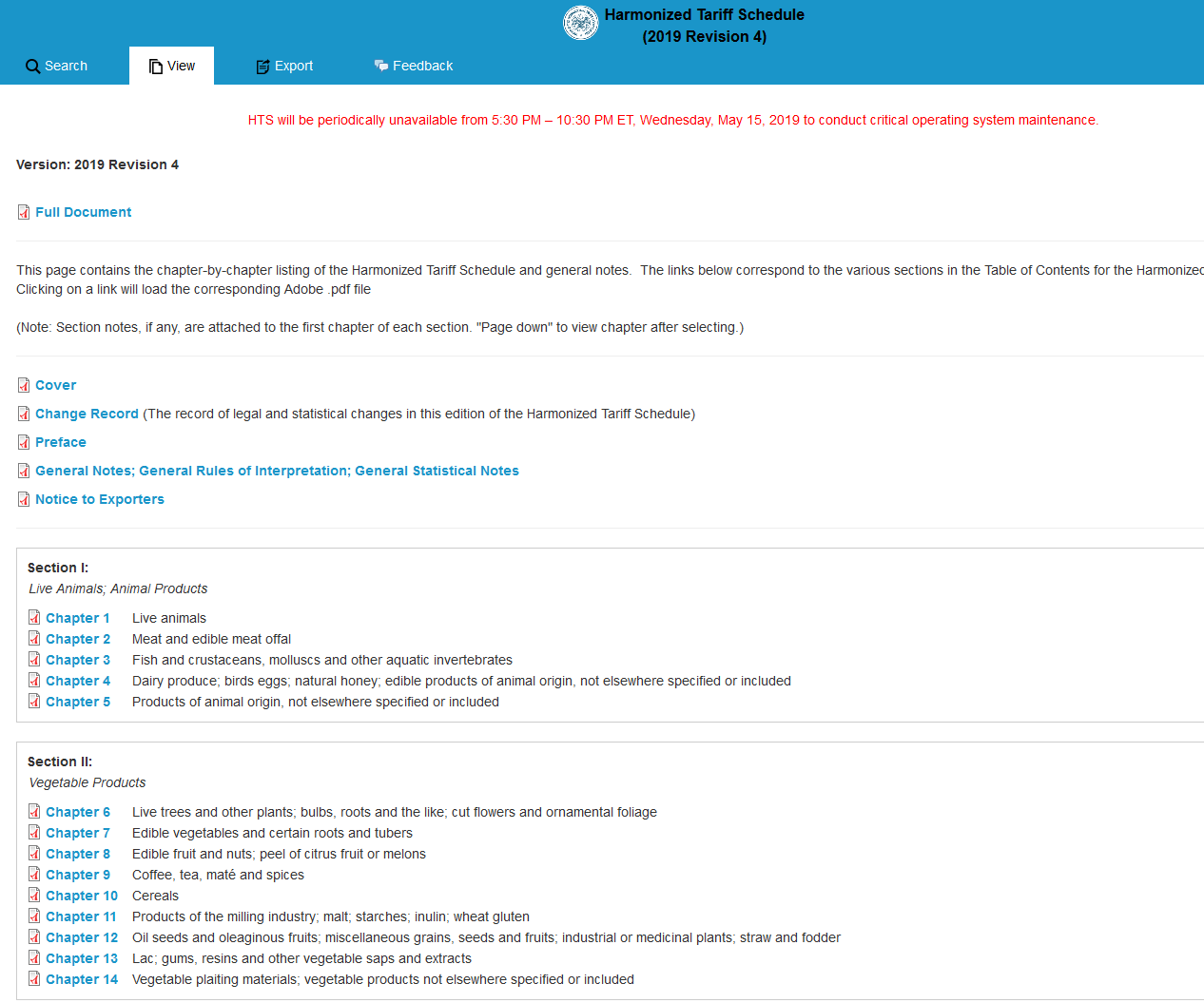 Screenshot Harmonized Tariff Schedule S