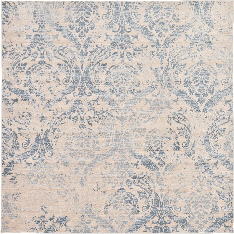 Unique Loom Kensington Floral Blue Cream Fabric Cotton Indoor