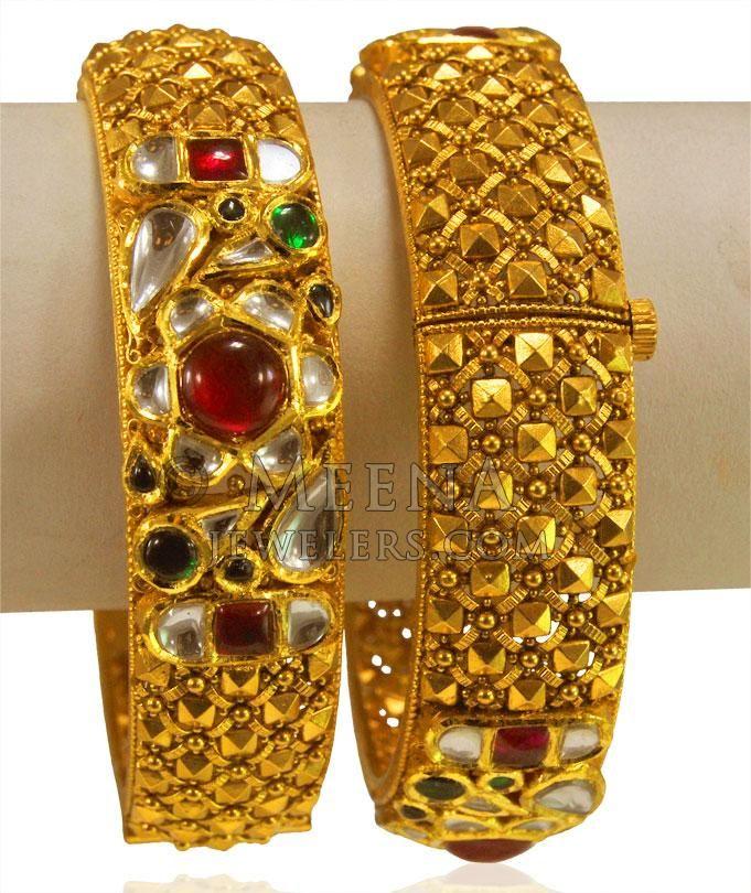 22kt Gold Antique Karas (2 Pcs) ( Antique Bangles ) | Kangan ...