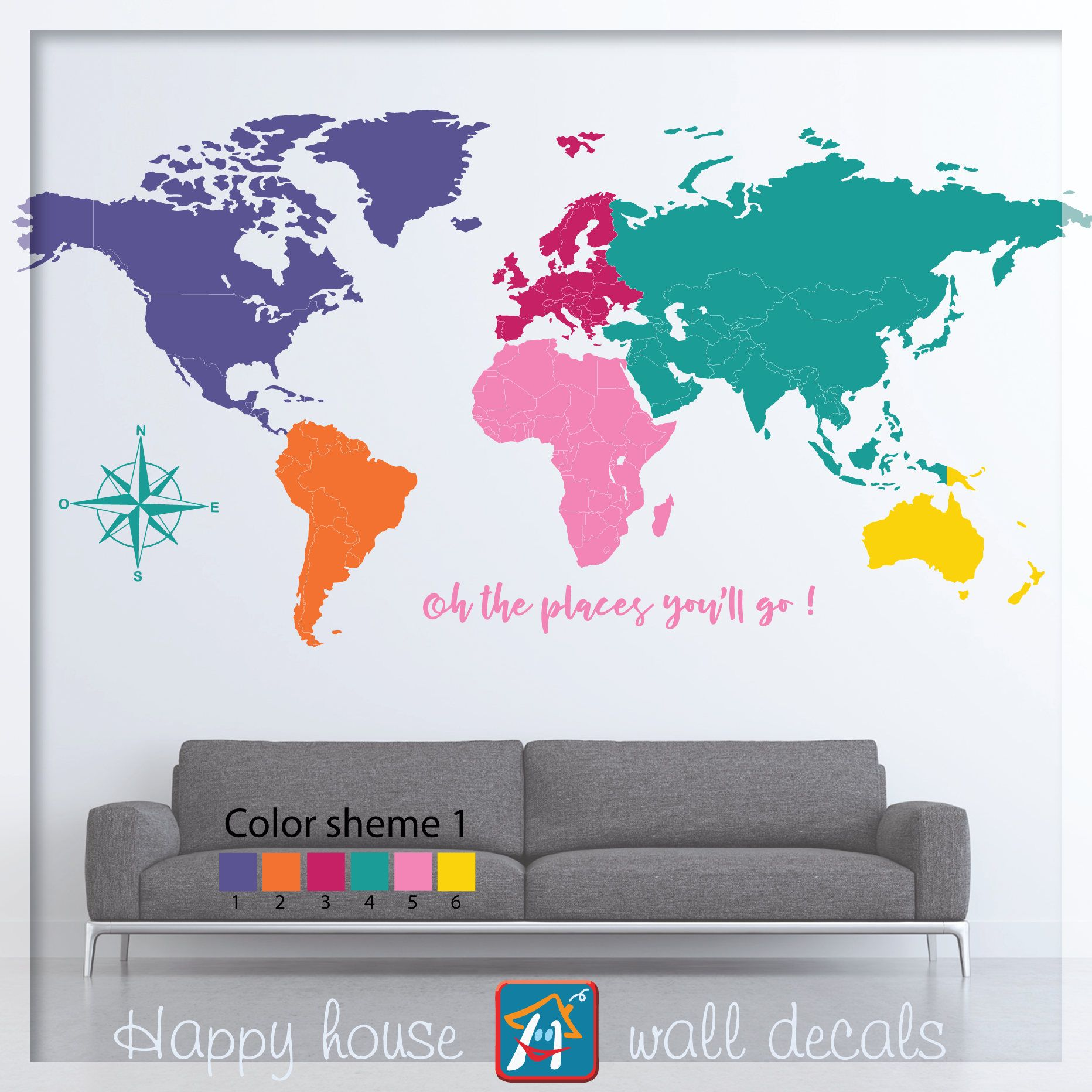 World map wall decal colorful world map decor large world map world map wall decal colorful world map decor large world map with quote gumiabroncs Images