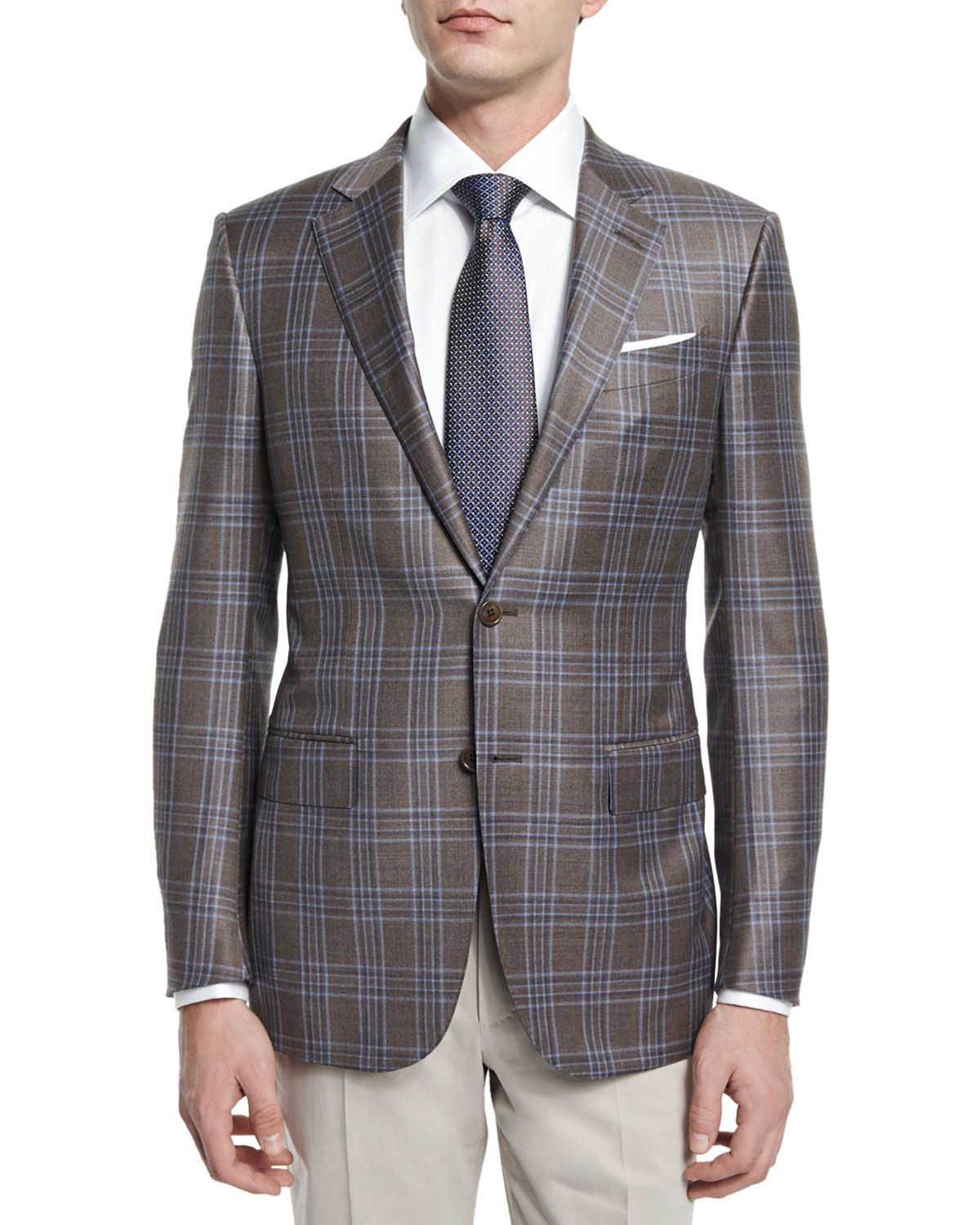 af0c7c2357 Plaid Two-Button Sport Coat Brown/Blue in 2019 | *Outerwear > Coats ...