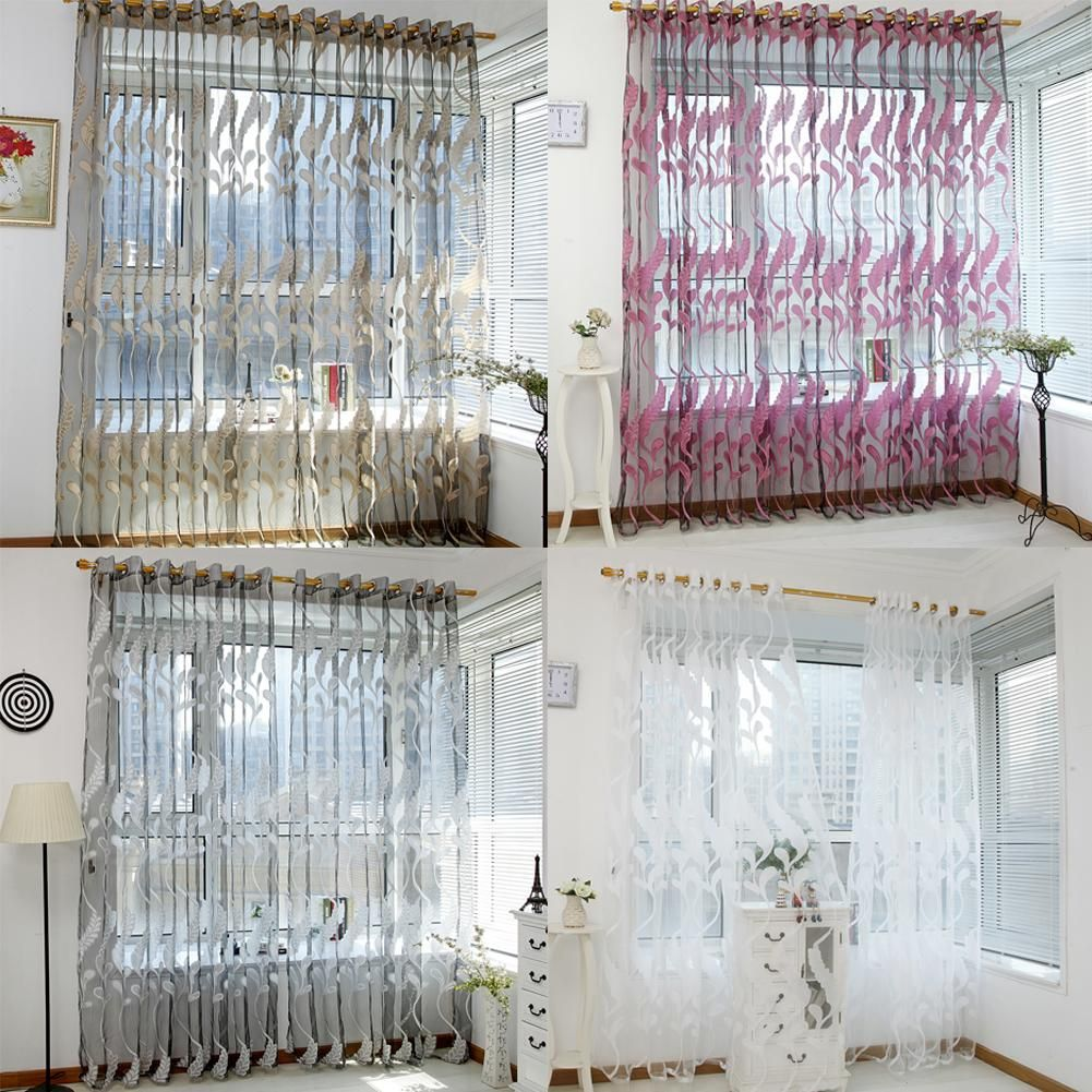 Buy 2M Foral Tulle Curtains For Living Room Curtains For Bedroom ...