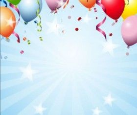 Colored Balloons With Star Birthday Background Vector