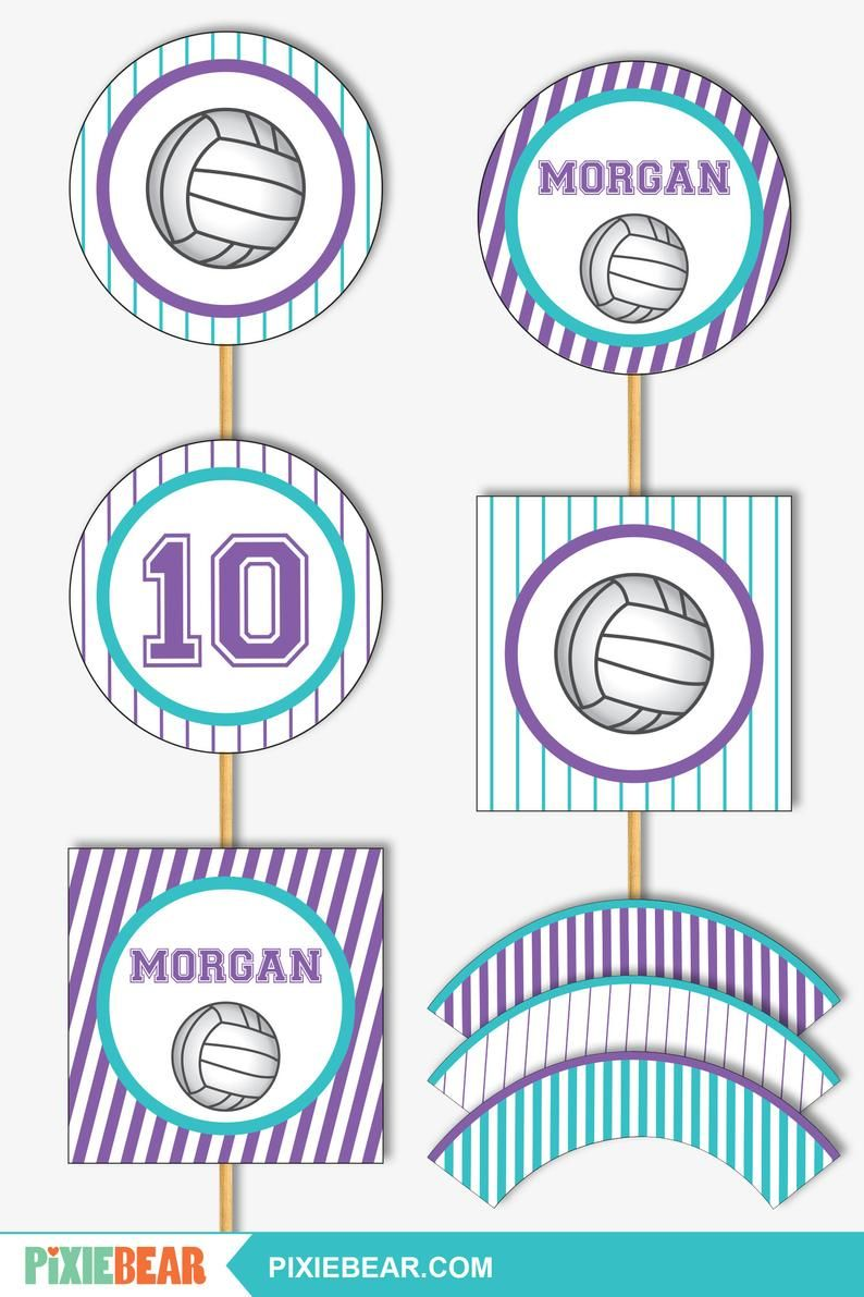Volleyball Cupcake Toppers Printable Volleyball Party Etsy Cupcake Toppers Printable Printable Party Decorations Volleyball Party Decorations