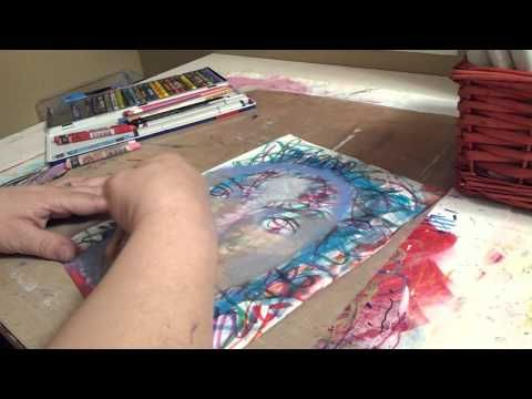 Part 2 of 3. In this three part series, I share my method of shading a face over a gel print (made with my Gelli Arts Gel Printing Plate) that is then covered with a layer of graffiti writing. I use a limited number of colors in Caran D'ache Neocolor II water soluble wax pastels, Prismacolor pencils, and Copic markers. I also use a Pitt Artist Pen and a Gellly Roll pen. I don't use any water, just blend it all with my fingers.