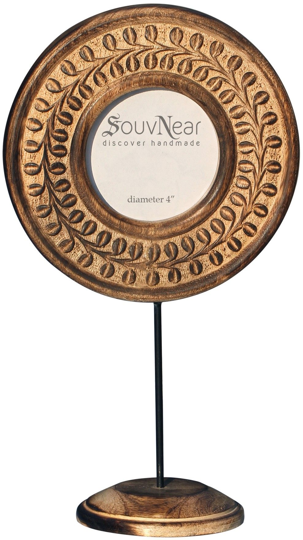 Beautiful You Handmade 14 Wooden Round Photo Frame With An Iron Stand In Vintage Look Ramki