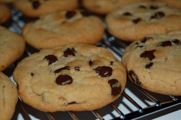 Addie s Favorite Peanut Butter Chocolate Chip Cookies from Food.com:   My most requested cookie recipe. I am unsure of the yield, but should be approx. 2 dozen. They are usually eaten from the cookie sheet before they are cooled.