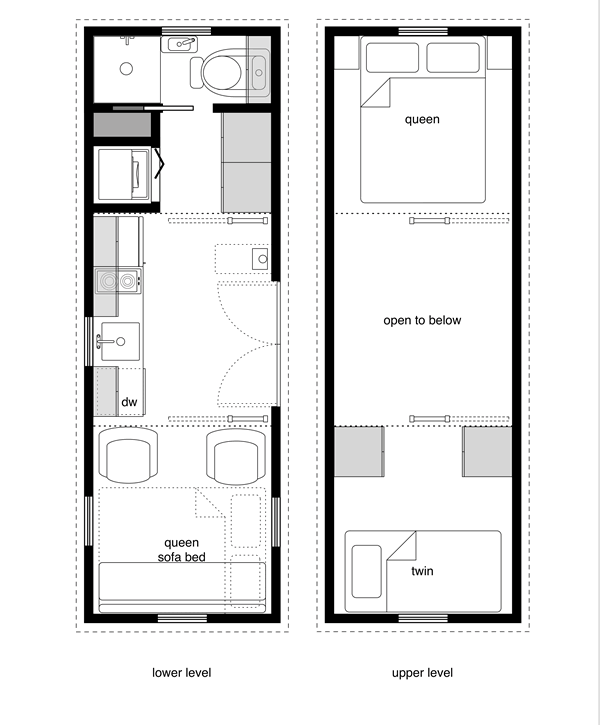 8x24 5 tiny house floor plan with washer dryer for Small house floor plans with loft