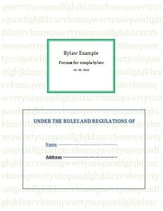 Free Bylaws Template Word Excel PDF Templates Www - Free bylaws template