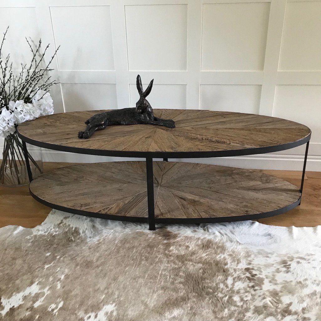 Oval Parquet Wood Metal Double Shelf Coffee Table Oval Dark Smooth Metal Frame Double Shelf Coffee Table With Recla Coffee Table Wood Parquet Coffee Table Wood [ 1024 x 1024 Pixel ]