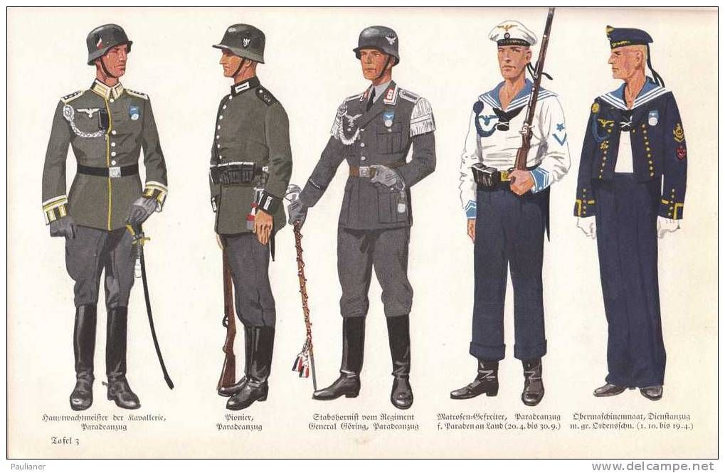(from left to right) German Wehrmacht officers' parade dress uniform, Wehrmacht enlisted
