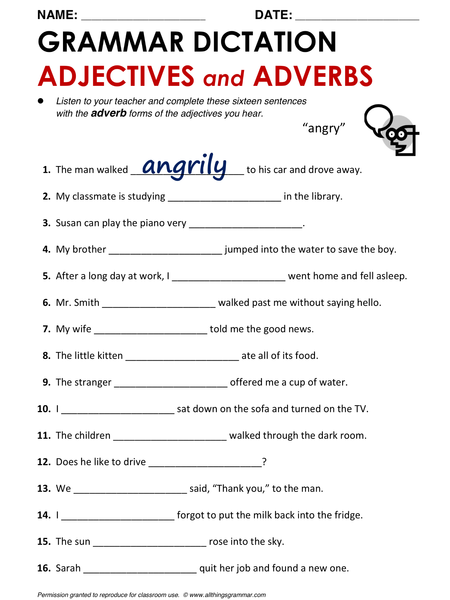 Worksheets Adverbs And Adjectives Worksheet english grammar adjectives and adverbs httpwww allthingsgrammar and