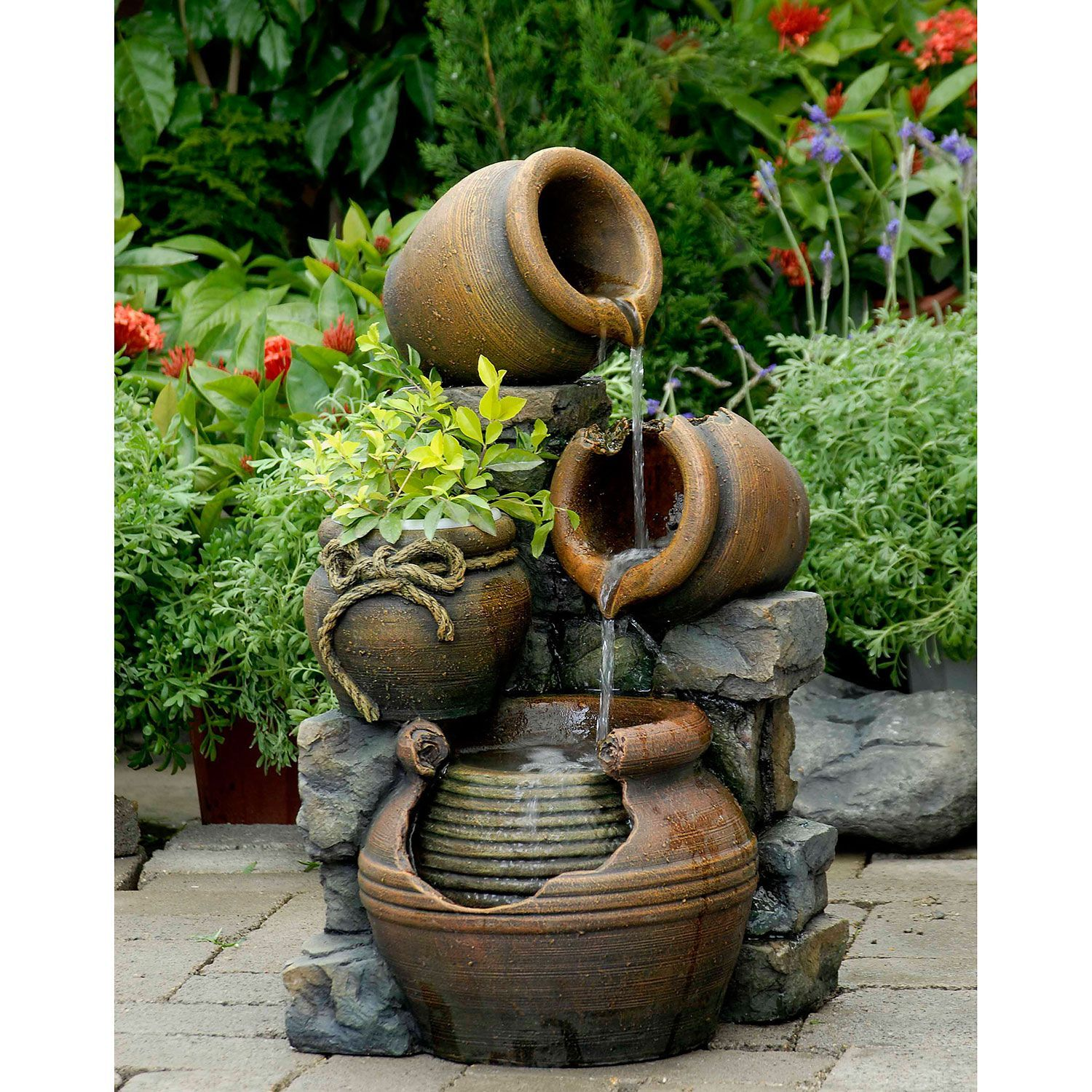 Jeco Multi Pots With Flower Pot Outdoor Water Fountain, Brown (Resin),  Outdoor