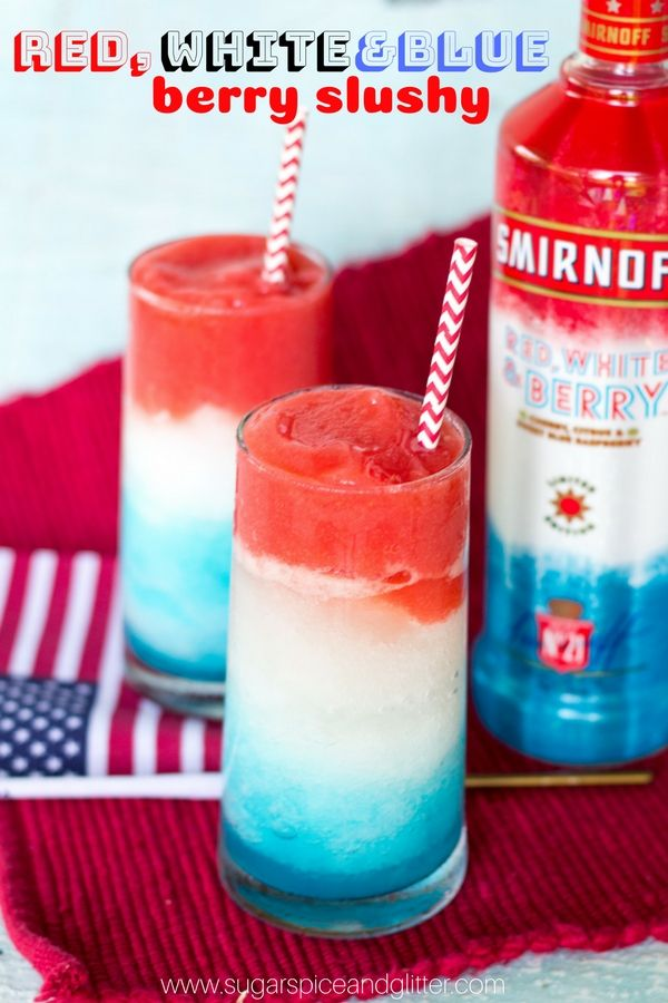 A Fun 4th Of July Drink This Patriotic Recipe For Red White And Blue Berry Slushy Cocktails Is