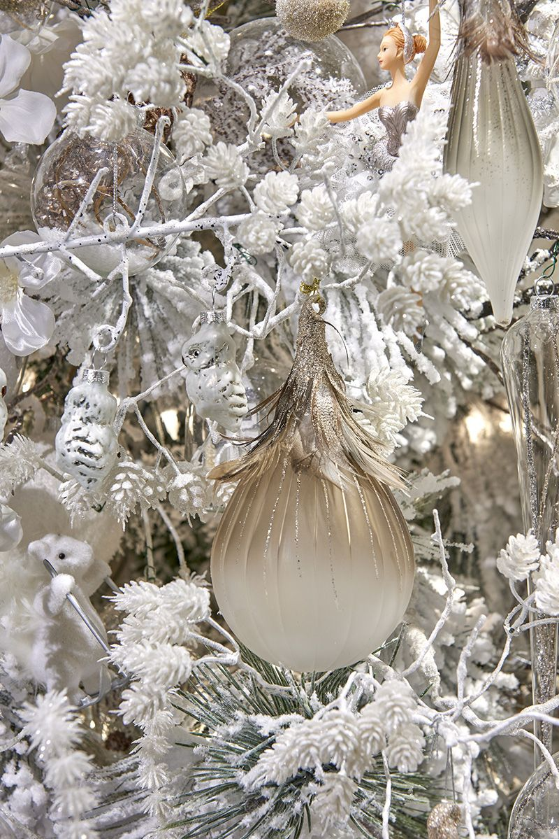 Ballerina ornament and glass baubles in the winter frost for Ballerina tree decoration