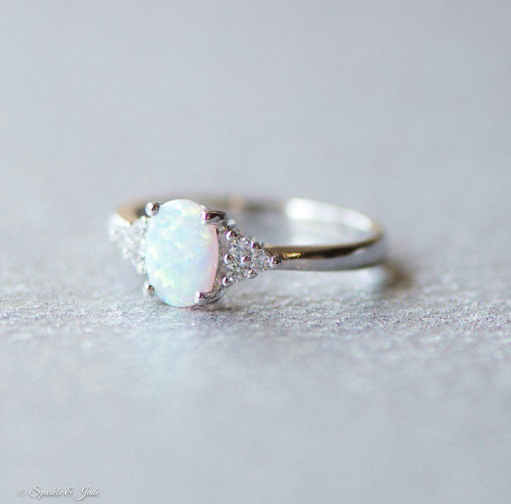 Cherryn Created Opal White Zircon cz engagement ring