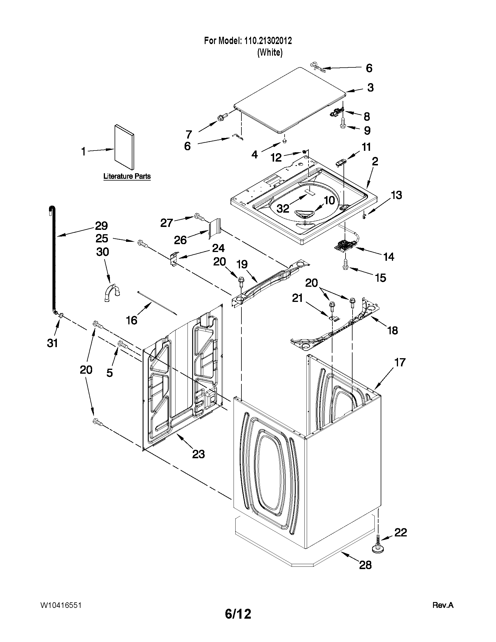 hight resolution of top and cabinet parts this page shows different part diagrams and has a search for error codes use in place of tech sheet that has gone missing