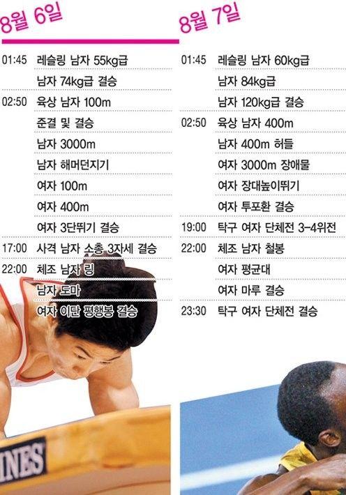 2012 런던올림픽 한국 경기일정