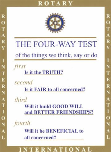 ROTARY INTERNATIONAL RUSSELL HAMPTON THE FOUR WAY TEST OF THINGS WALL PLAQUE NEW