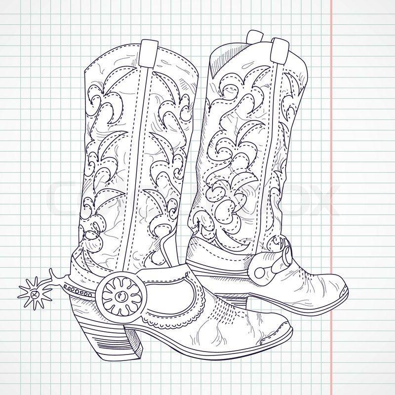 hand gezeichnete skizze eines cowboystiefel  stock