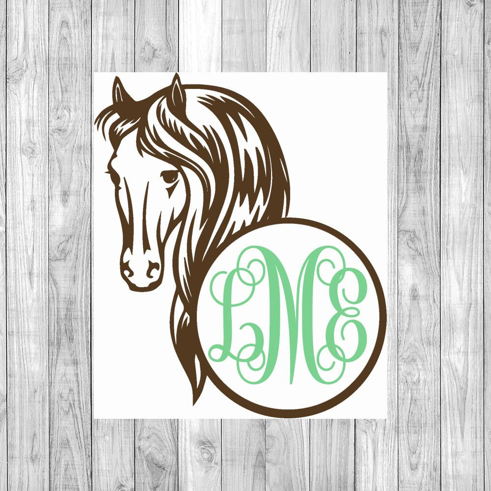Horse monogram horse decal monogram decal vinyl decal personalized decal custom sticker yeti decal car decal phone decal by southerlycharm on etsy