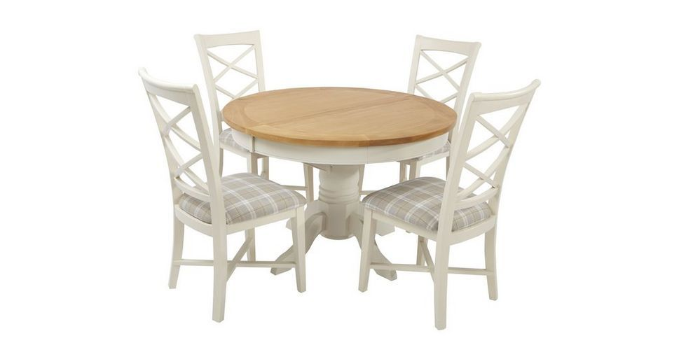 Shore Round Extending Table And Set Of 4 Cross Back Chairs Shore New Dfs Dining Room Furniture Decorating Design